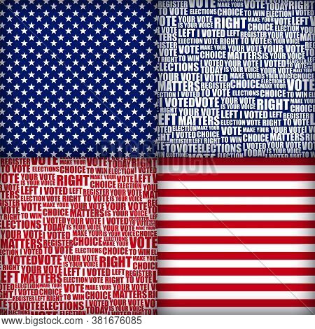 American Elections Vote Seamless Patterns Set. Collection Of Patterns With Democratic Civil Society