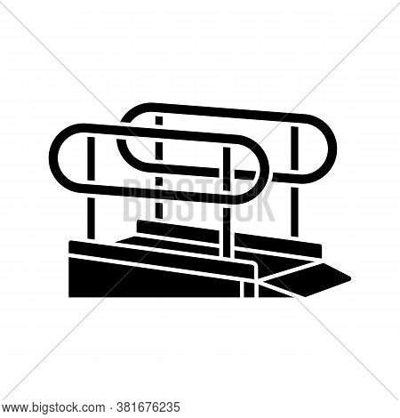 Wheelchair Ramp Black Glyph Icon. Outdoor Inclined Plane. Wheelchair Users Accessibility. Disabled P