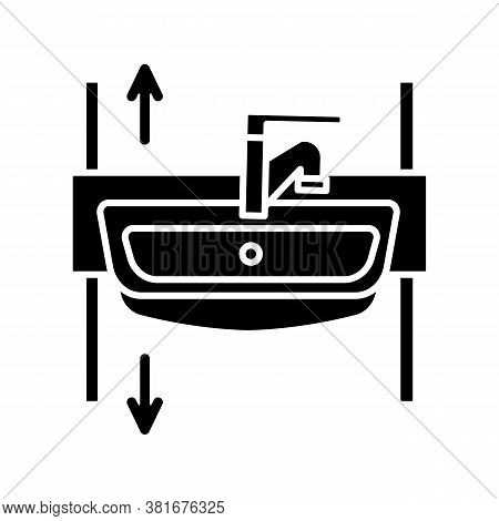 Adjustable Height Sink Black Glyph Icon. Rise And Fall Wash Basin For Wheelchair Users And Seniors.