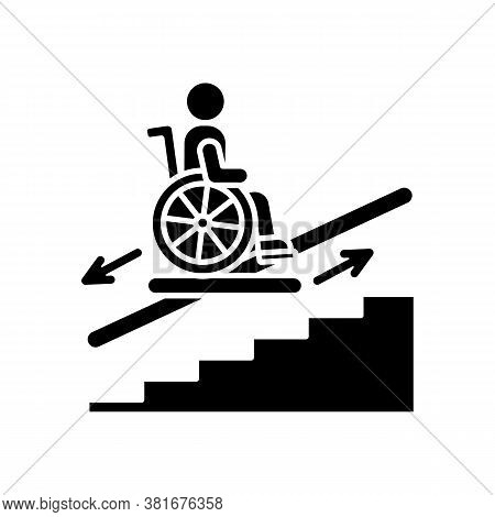 Stair Lift Black Glyph Icon. Wheelchair Platforms And Stairlifts For Disabled Users. Outdoor Stair L