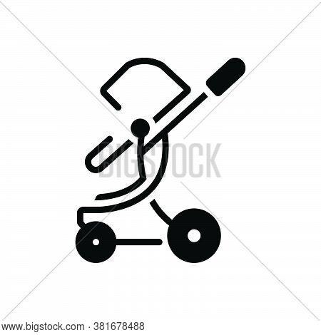 Black Solid Icon For Toddler-rocker Stroller Straggler Pushchair Buggy Carriage Infant Care Child Ba