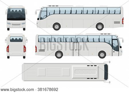 Coach Bus Vector Template With Simple Colors Without Gradients And Effects. View From Side, Front, B