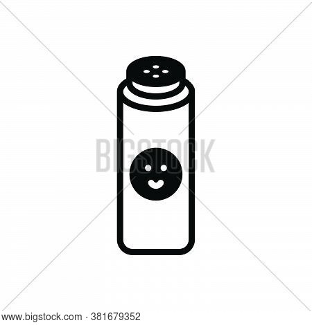 Black Solid Icon For Baby-powder Powder Costmetic Perforations Bottle Softness Purity Hygiene Skin-c