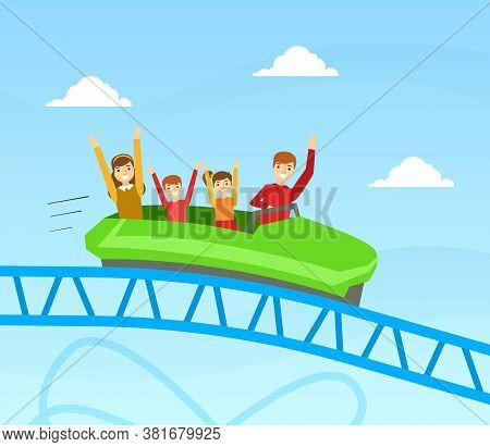 Family Riding Roller Coaster Together, Happy People Having Fun In Amusement Park On Summer Holidays