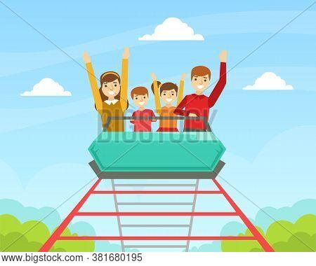 Family Riding Roller Coaster Together, Happy People Having Fun In Amusement Park Cartoon Vector Illu