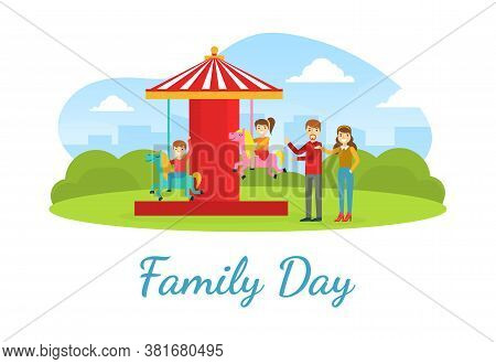 Family Day Landing Banner Template, Happy Parents And Kids Having Fun In Amusement Park Cartoon Vect