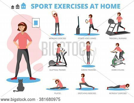 Sport Exercises At Home Concept, Flat Vector Illustration