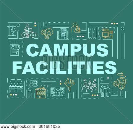 Campus Word Concepts Banner. University Infrastructure. College Institute. Infographics With Linear