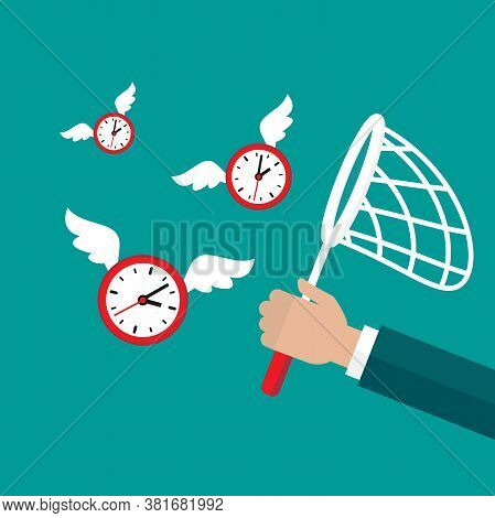 Businessman Hand With Butterfly Net Catches Flying Clock With Wings.