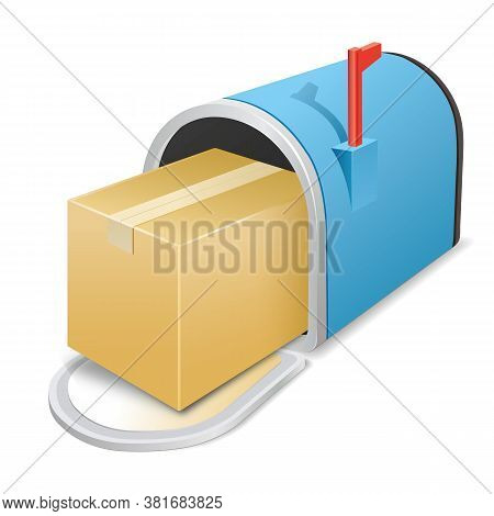 Blue Metal Open Mailbox With A Parcel On A White Background. Vector Icon. Parcel Delivery. Stock Ill