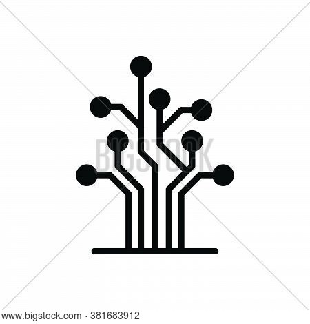 Black Solid Icon For Tree Network Circuit Electronic Digital Hardware Circuit Semiconductor Conceptu