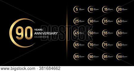 Set Of Premium Anniversary Logotype. Golden Anniversary Celebration Emblem Design For Company Profil