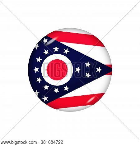 Icon Flag Of Ohio . Round Glossy Flag. Vector Illustration. Eps 10