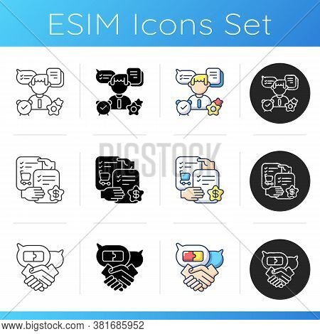 Teamwork Skills Icons Set. Linear, Black And Rgb Color Styles. Professional Talents And Personal Tra