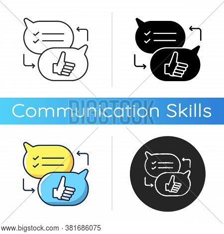 Criticism Icon. Linear Black And Rgb Color Styles. Communication Skills, Conversation. Opinions Exch