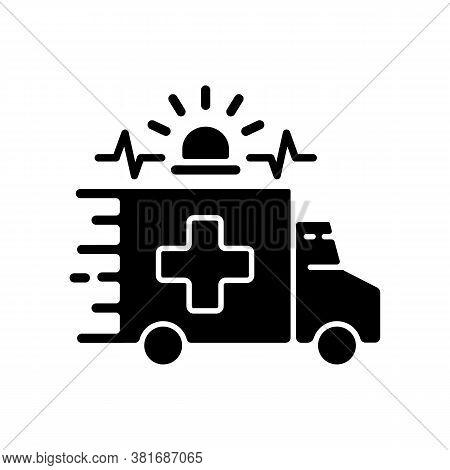 Emergency Black Glyph Icon. Ambulance. Emergency Response. Accident Department. Urgent Medical Care