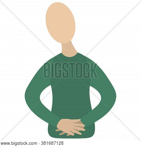 Abdominal Pain. Stomach Upset. Vector Icon. Isolated White Background. Man Holds His Belly. Flat Sty