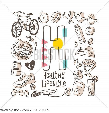 Letter H - Healthy Lifestyle, Cute Alphabet Series In Doodle Style, Vector Illustration