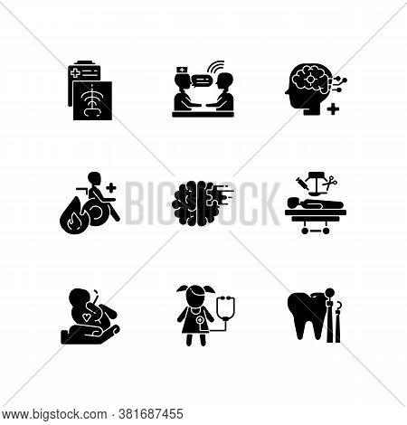 Healthcare Services Black Glyph Icons Set On White Space. Maternity And Psychiatric Ward. Burn Cente