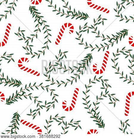 Christmas Background. Seamless Pattern With Christmas Twigs, Candy Canes On White Background For Wal