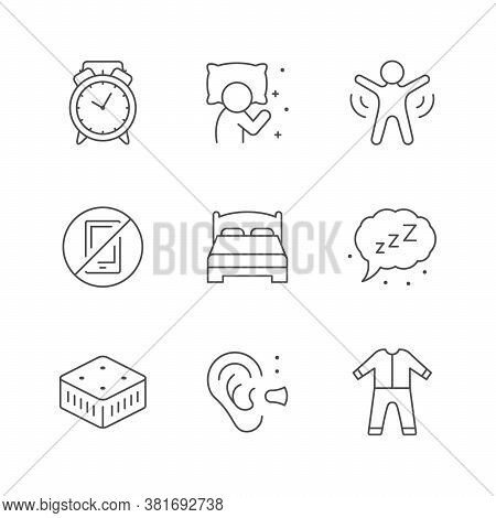 Set Line Icons Of Sleep Isolated On White. Orthopedic Mattress, Awakening, No Phone Or Gadget, Ear P