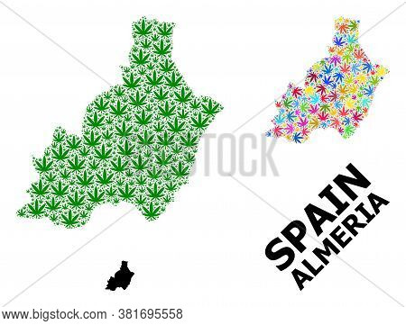 Vector Weed Mosaic And Solid Map Of Almeria Province. Map Of Almeria Province Vector Mosaic For Weed