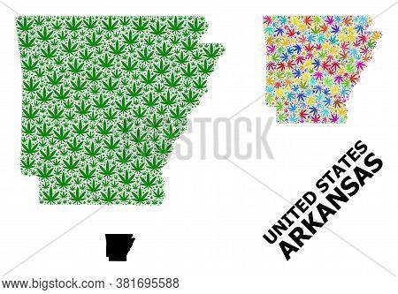 Vector Marijuana Mosaic And Solid Map Of Arkansas State. Map Of Arkansas State Vector Mosaic For Mar