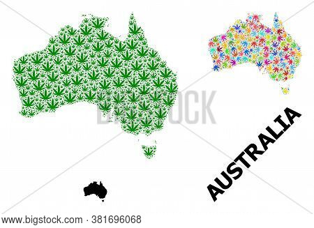 Vector Weed Mosaic And Solid Map Of Australia. Map Of Australia Vector Mosaic For Weed Legalize Camp