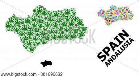 Vector Hemp Mosaic And Solid Map Of Andalusia Province. Map Of Andalusia Province Vector Mosaic For