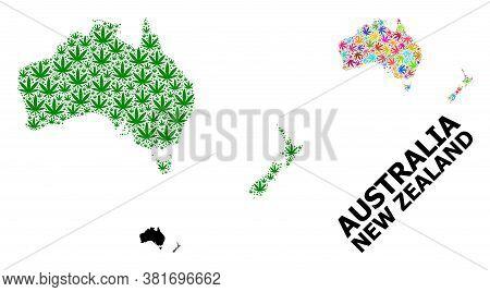 Vector Marijuana Mosaic And Solid Map Of Australia And New Zealand. Map Of Australia And New Zealand