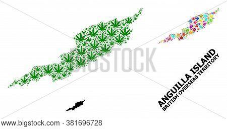 Vector Hemp Mosaic And Solid Map Of Anguilla Island. Map Of Anguilla Island Vector Mosaic For Hemp L