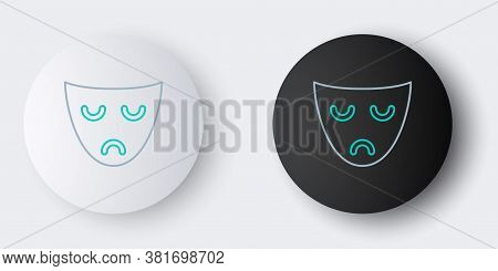 Line Drama Theatrical Mask Icon Isolated On Grey Background. Colorful Outline Concept. Vector
