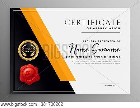 Certificate Of Appreciation Yelllow Professional Template Design