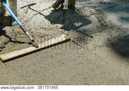Process Of Installing Construction Of New Sidewalks Laying Concrete Sidewalk Cement