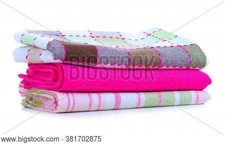 Folded Kitchen Towels On White Background Isolation