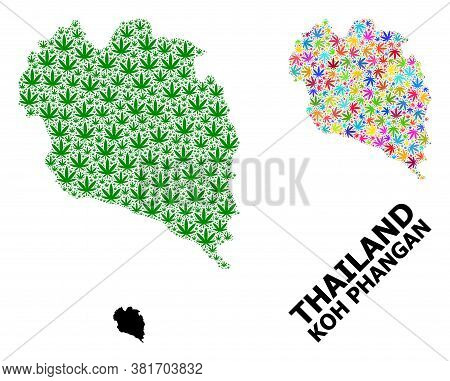 Vector Cannabis Mosaic And Solid Map Of Koh Phangan. Map Of Koh Phangan Vector Mosaic For Cannabis L