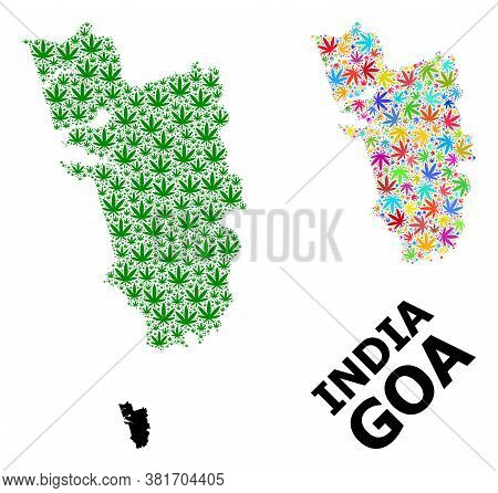 Vector Cannabis Mosaic And Solid Map Of Goa State. Map Of Goa State Vector Mosaic For Cannabis Legal