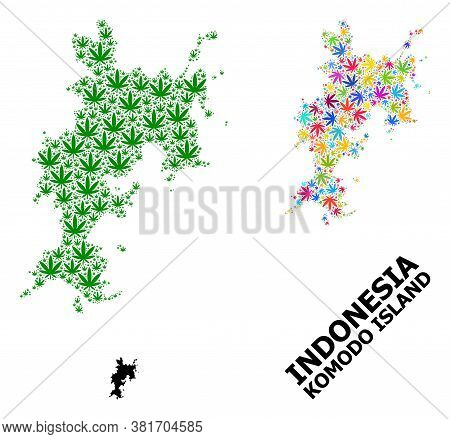 Vector Weed Mosaic And Solid Map Of Komodo Island. Map Of Komodo Island Vector Mosaic For Weed Legal