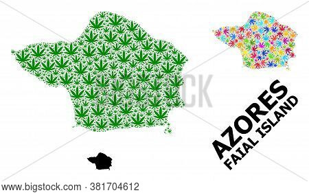 Vector Weed Mosaic And Solid Map Of Faial Island. Map Of Faial Island Vector Mosaic For Weed Legaliz