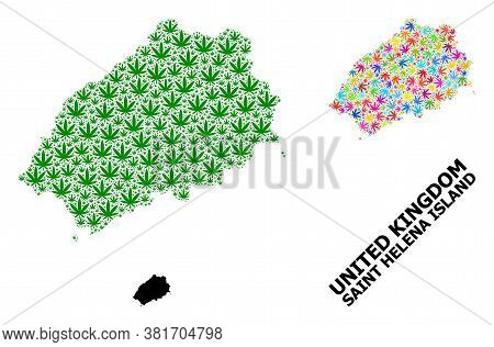 Vector Hemp Mosaic And Solid Map Of Saint Helena Island. Map Of Saint Helena Island Vector Mosaic Fo