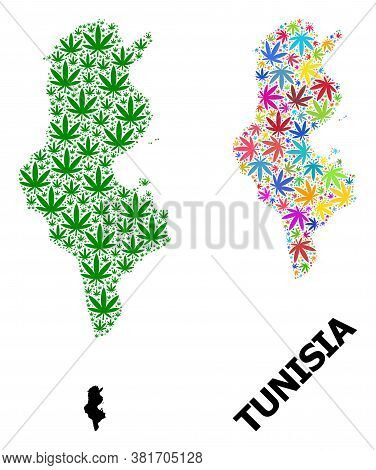 Vector Weed Mosaic And Solid Map Of Tunisia. Map Of Tunisia Vector Mosaic For Weed Legalize Campaign
