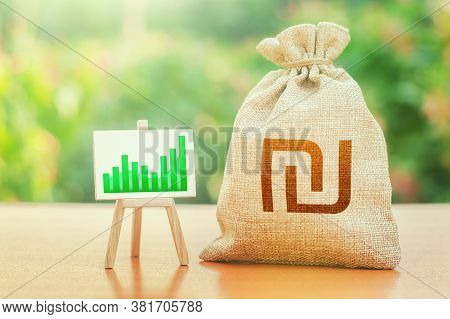 Israeli Shekel Money Bag And Easel With Green Positive Growth Graph. Economic Development. High Depo