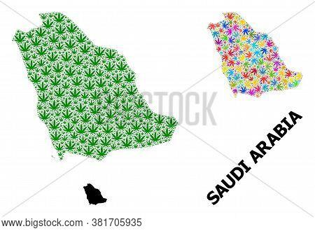 Vector Hemp Mosaic And Solid Map Of Saudi Arabia. Map Of Saudi Arabia Vector Mosaic For Hemp Legaliz
