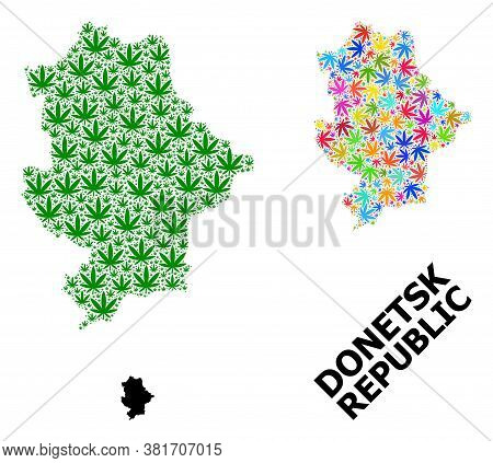 Vector Weed Mosaic And Solid Map Of Donetsk Republic. Map Of Donetsk Republic Vector Mosaic For Drug