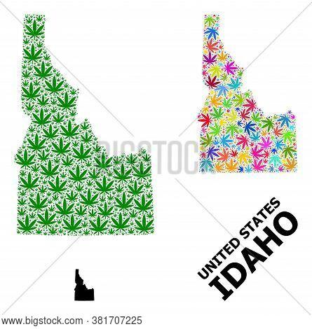Vector Weed Mosaic And Solid Map Of Idaho State. Map Of Idaho State Vector Mosaic For Weed Legalize