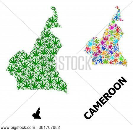 Vector Weed Mosaic And Solid Map Of Cameroon. Map Of Cameroon Vector Mosaic For Weed Legalize Campai