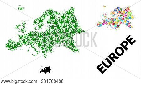 Vector Marijuana Mosaic And Solid Map Of Europe. Map Of Europe Vector Mosaic For Marijuana Legalize
