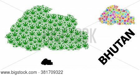 Vector Hemp Mosaic And Solid Map Of Bhutan. Map Of Bhutan Vector Mosaic For Hemp Legalize Campaign.