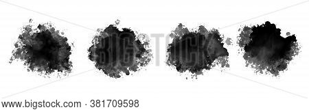 Black Ink Watercolor Splatter Texture Set Of Four