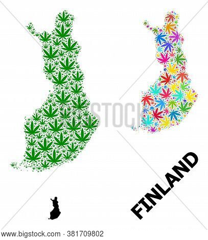 Vector Weed Mosaic And Solid Map Of Finland. Map Of Finland Vector Mosaic For Weed Legalize Campaign